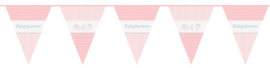Babyshower vlaggenlijn roze