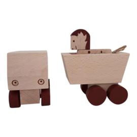 houten vrachtwagen met paardje bruin