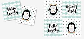 """Servetten """"Hello Lovely Pinguïn"""" zwart/mint"""