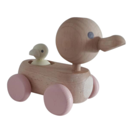 wooden mum and baby duck - pastel
