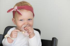 Babyhaarbandje geknoopt ''bi-colour'' mosterd/licht grijs