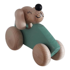 wooden dog in car - green