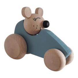 houten auto muis - blauw