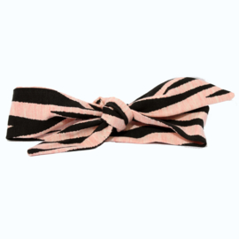 "Baby headband tie knot ""Animal"" zebra black/salmon"