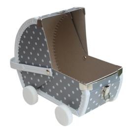 speelkoffertje grijze poppenwagen
