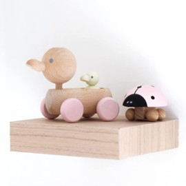 houten lieveheersbeestje lichtroze