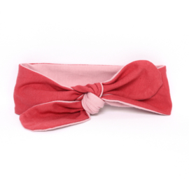"Baby headband tie knot ""bi-colour"" blush/woodchuck"