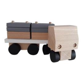 wooden truck with rectangular blocks - monochrome