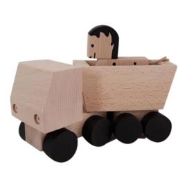 houten vrachtwagen met paardje zwart