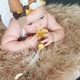 Babyhaarbandje geknoopt  camouflage oker