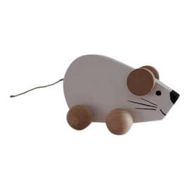 wooden mouse on wheels - white