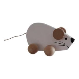 houten muis op wieltjes - wit