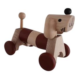 wooden dog on wheels - brown