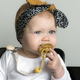 Babyhaarbandje geknoopt ''bi-colour'' mosterd/animal