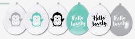 "Balloons 'Hello Lovely"" Penguin black and mint"