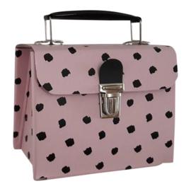 handtasje roze met zwarte dots