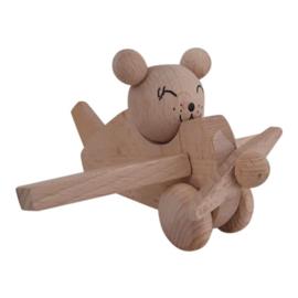 houten vliegtuig beer