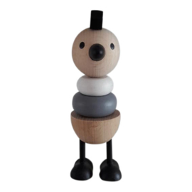 wooden stacking toy chicken - monochrome