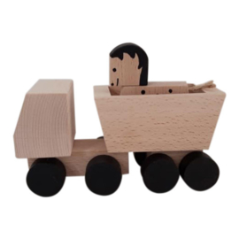 wooden truck with horse - black