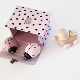 houten lieveheersbeestje - dusty pink