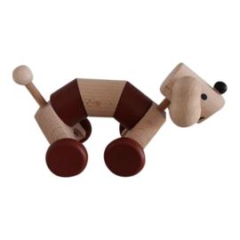 houten hondje op wielen - bruin