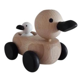 houten mama & baby eendje - monochrome