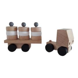 houten vrachtwagen met ronde blokjes - monochrome