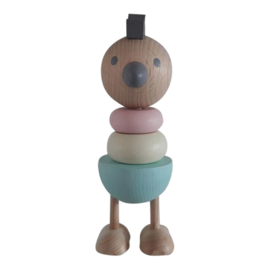 wooden stacking toy chicken - pastel