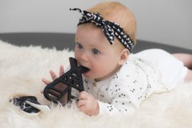 babyhaarbandje geknoopt 'dessin' zwart/wit