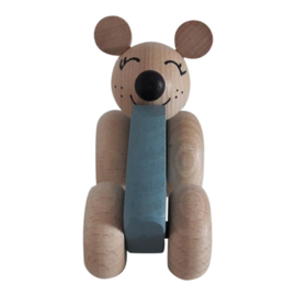 wooden mouse in car - blue