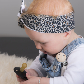 "Baby headband tie knot ""Animal"" leopard grey/brown"