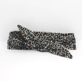 "Baby headband tie knot ""Animal"" leopard grey/brown"