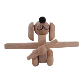 wooden airplane dog