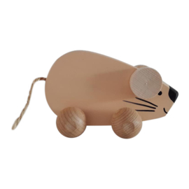 wooden mouse on wheels - apricot