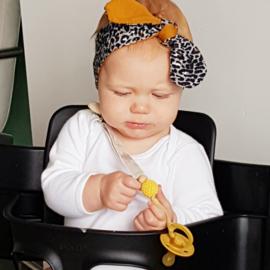 Babyhaarbandje geknoopt ''bi-colour'' white/animal