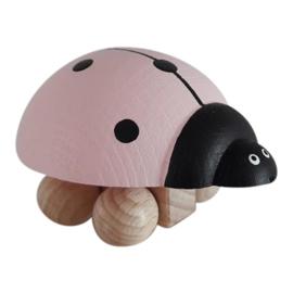 wooden ladybug - light pink