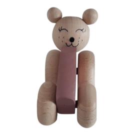 wooden bear in car - dusty pink