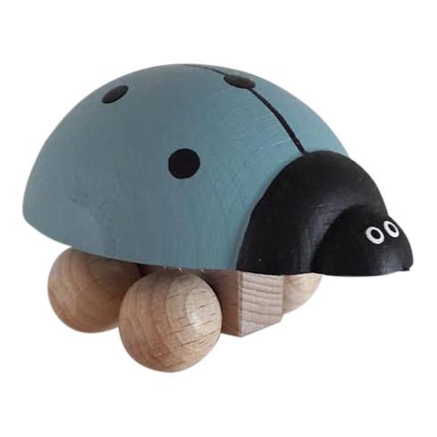 houten lieveheersbeestje - blauw