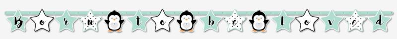 """Letterlijn """"Hello Lovely Pinguin""""zwart/mint"""