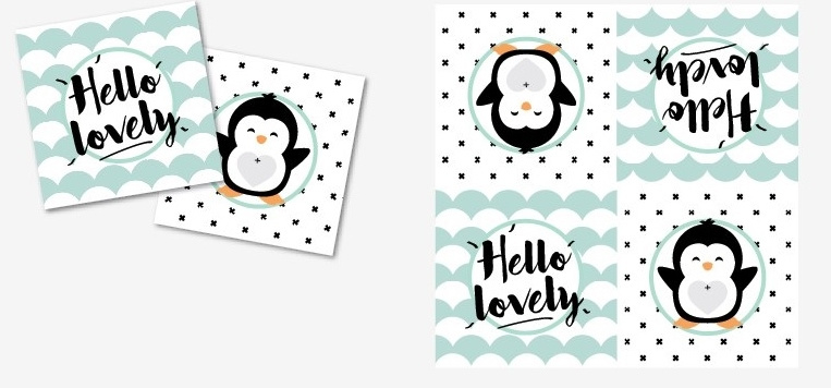 "Servetten ""Hello Lovely Pinguïn"" zwart/mint"