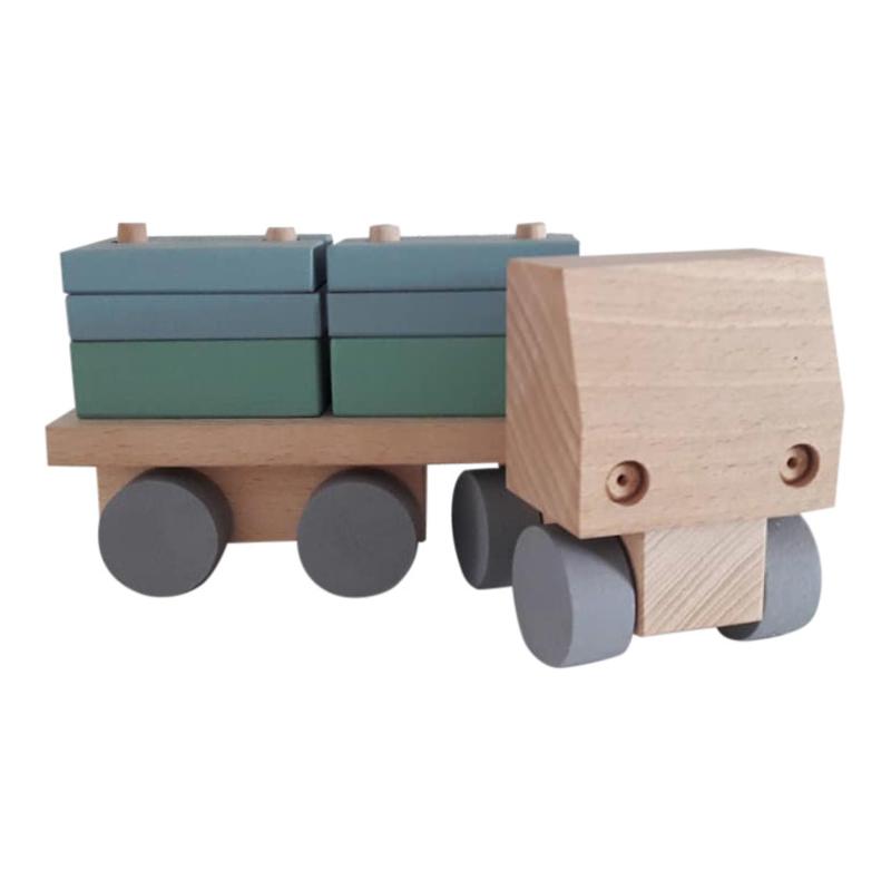 houten vrachtwagen met rechthoekige blokjes - nordic