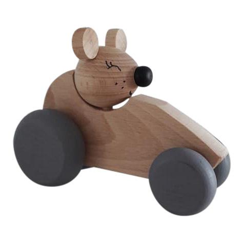 houten auto muis - naturel