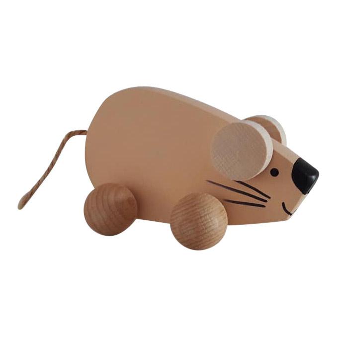 houten muis op wieltjes - abrikoos