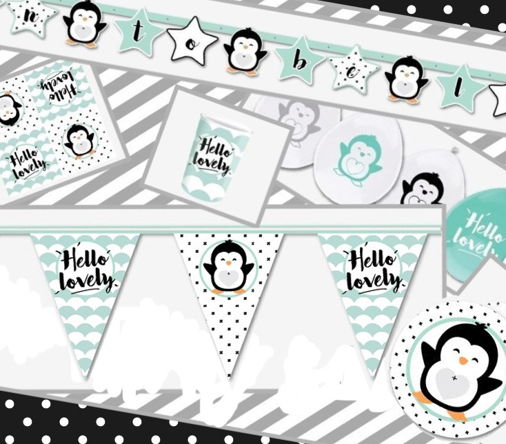 "Babyparty in a box ""Hello Lovely"" zwart/mint (8 pers)"