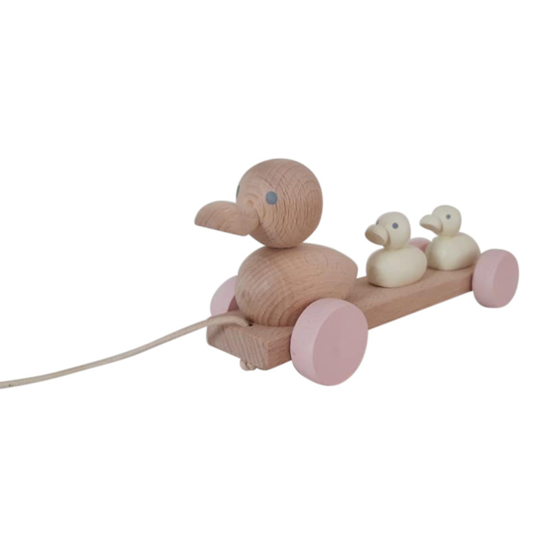 wooden pull along ducks - pastel