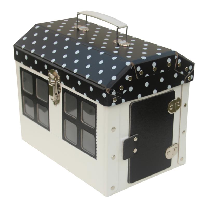 suitcase house monochrome
