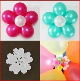 Ballon clip bloem, per stuk - kleur; transparant