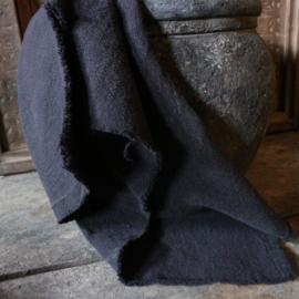 Linnen keukendoek gerafeld zwart (50x60 cm)