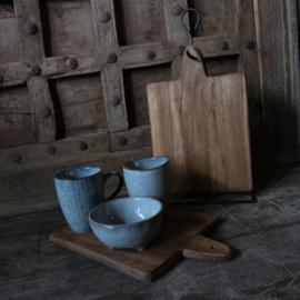 """4 houten """"brood""""plankjes aan metalen rek"""
