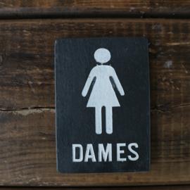 "Leistenen deurbordje ""dames"""
